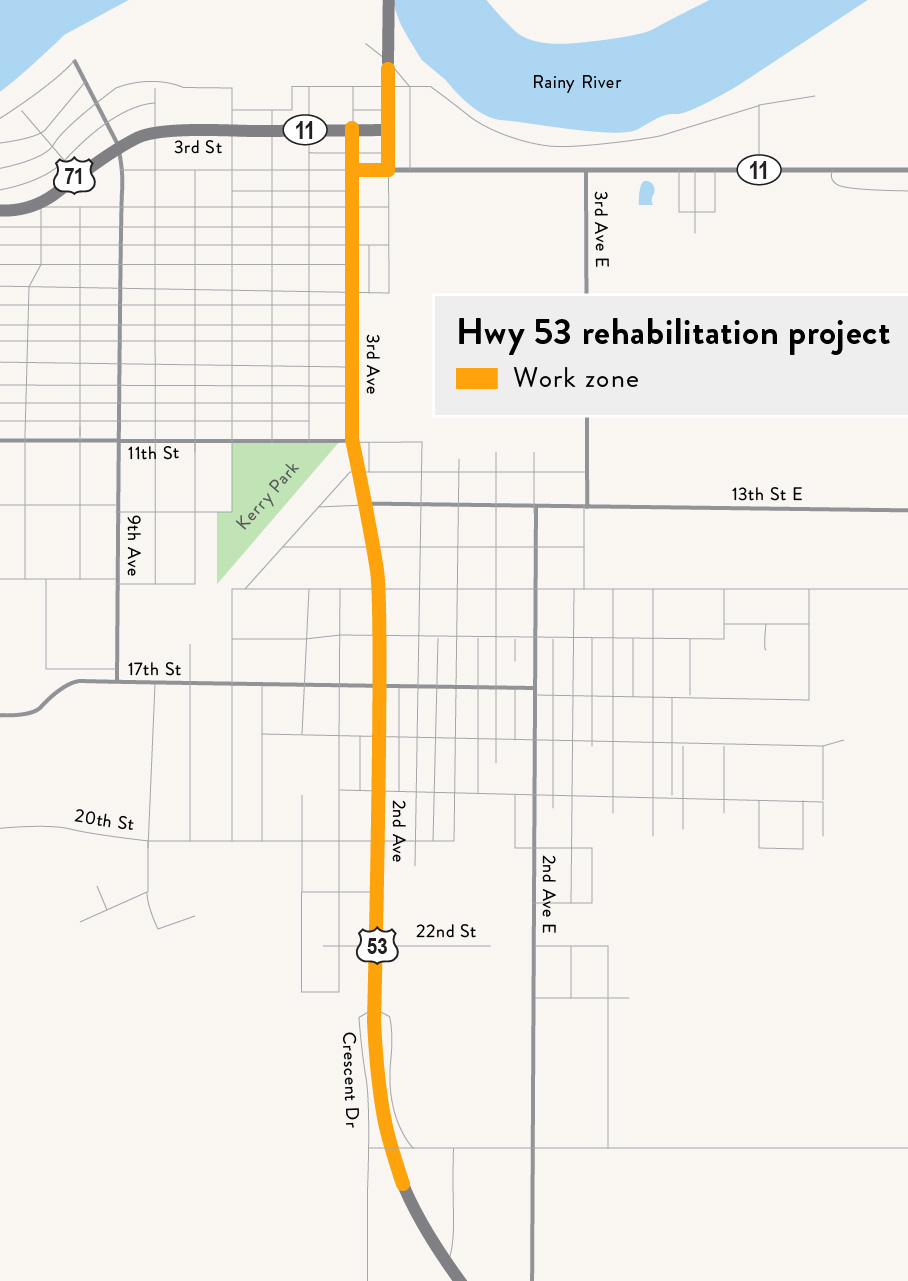 A rendering of the Hwy 53 International Falls project.