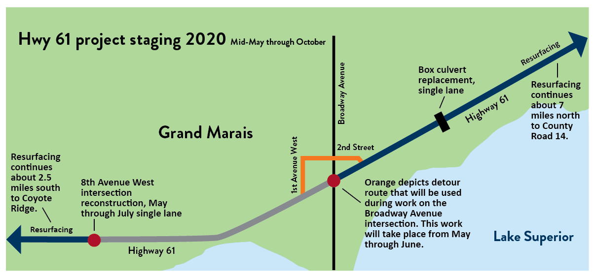 Map showing the project staging in 2020 from mid-May through October. Motorists may encounter a short detour, and single lane traffic.