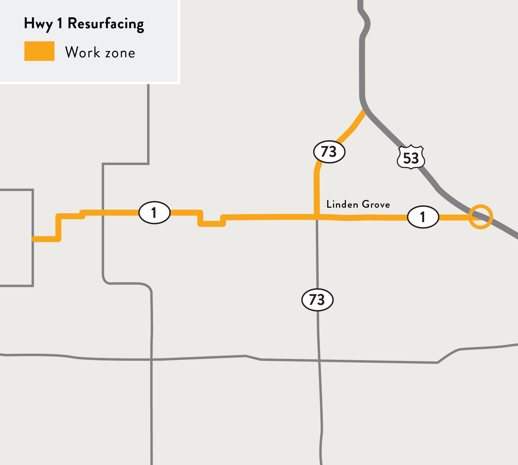 Hwy 1 Resurfacing project map