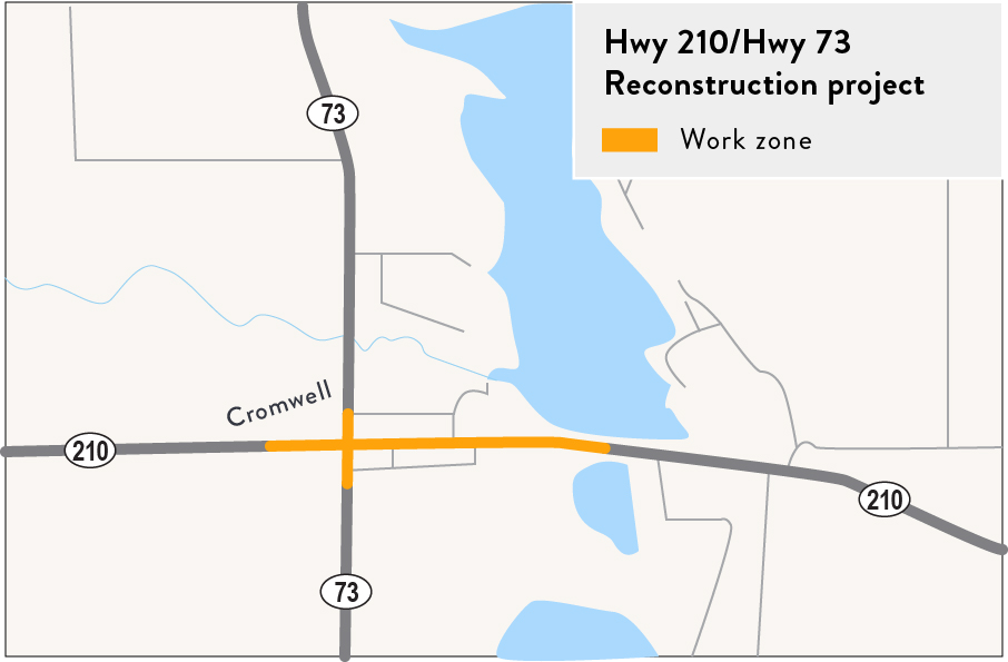 Hwy 210 Hwy 73 project location map