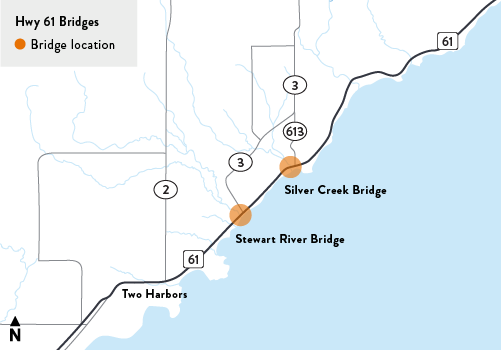 Map of the Silver Creek bridge and the Stewart River bridge