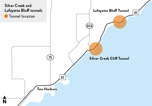 Map of the Lafayette Bluff tunnel and the Silver Creek cliff tunnel