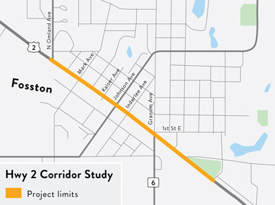 Highway 2 in Fosston map showing the project limits