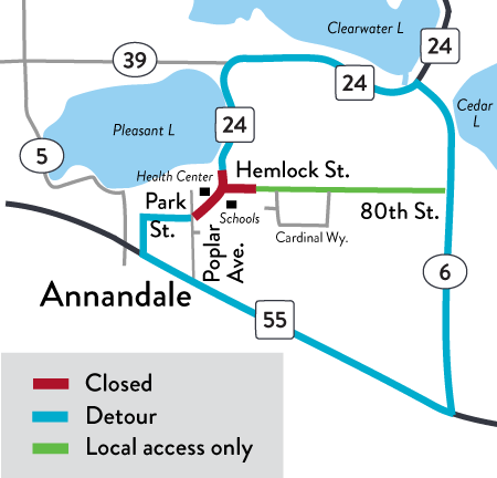 Detour map: Hwy 24 Annandale