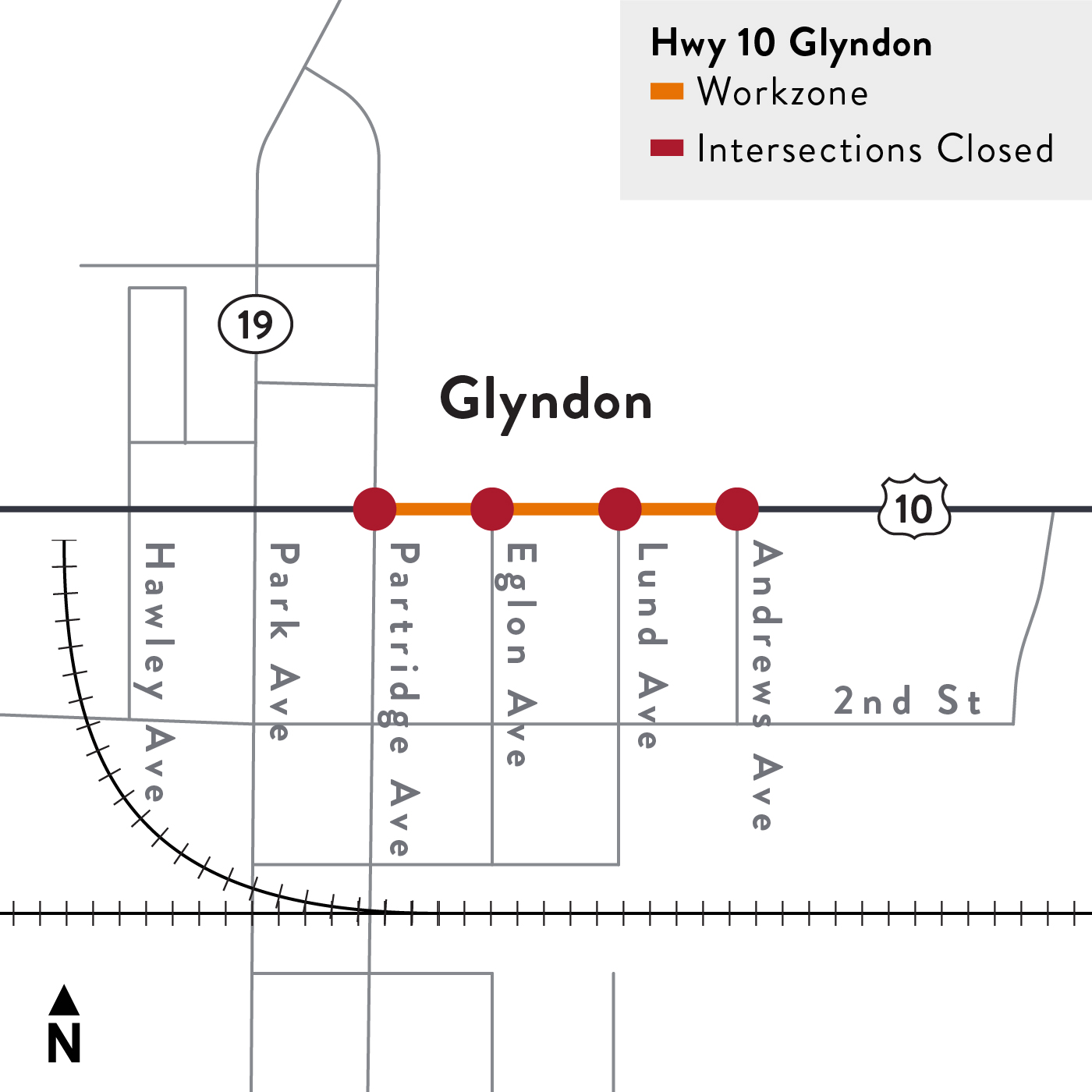 Project map for Highway 10 pavement repairs in Glyndon