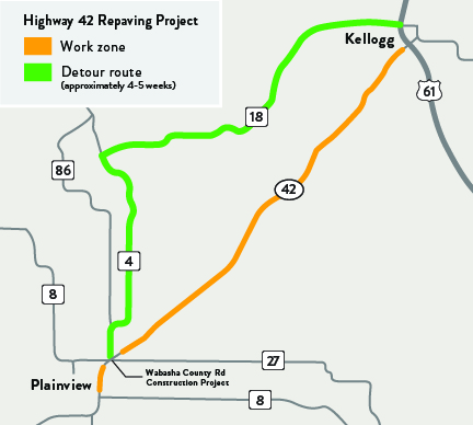 Hwy 42 resurfacing location project  map