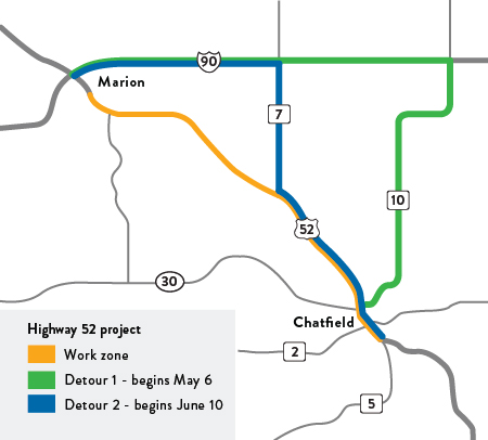 Map of Hwy 52 construction project location
