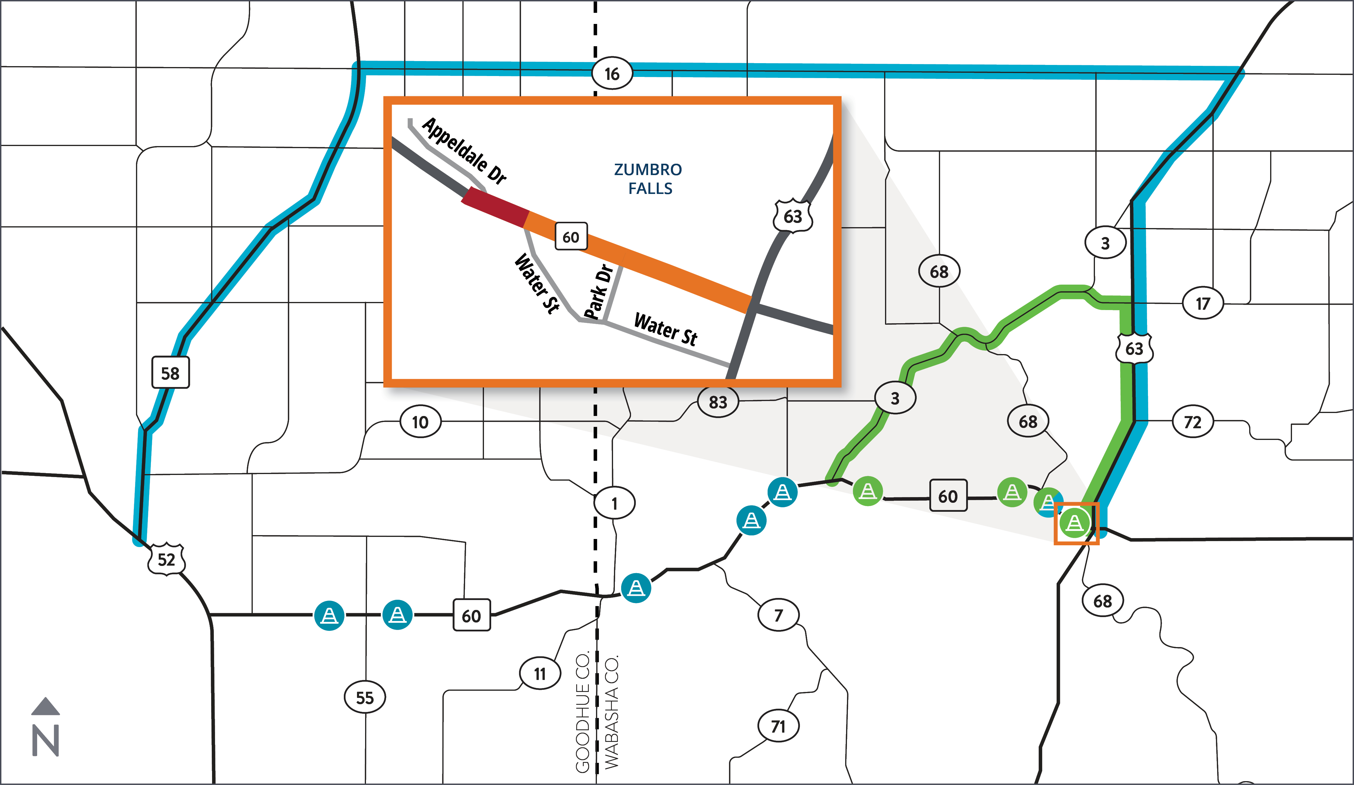 Map of Hwy 60 construction project location