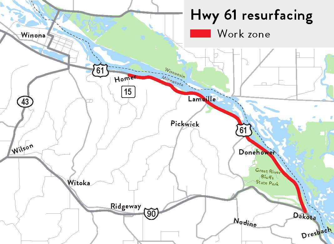 Hwy 61 Resurfacing Project Map