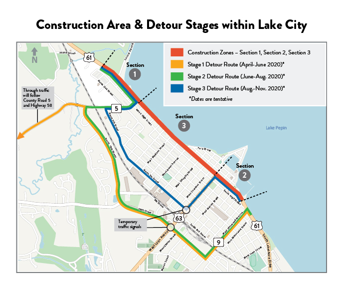 Hwy 61 Lake City Project map with the stages of detours