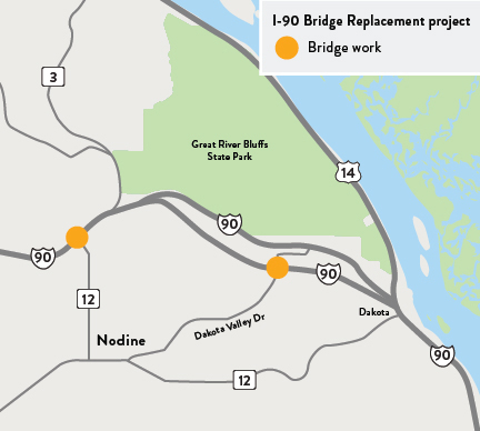 Map of I-90 bridge replacement project location