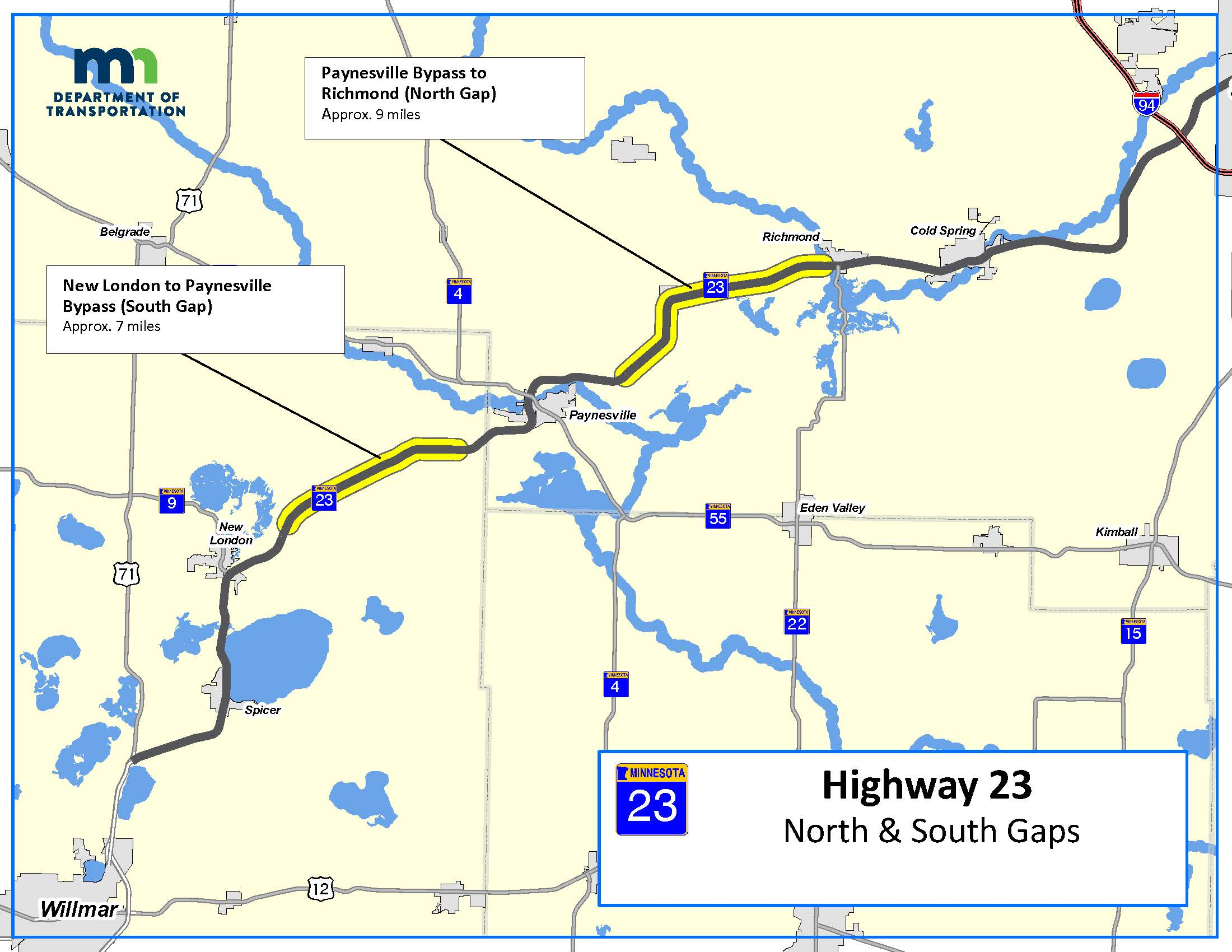Map of 4 lane gaps on Hwy 23