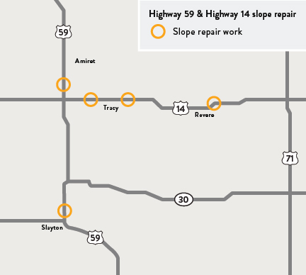 Map of locations of slope repair work on Highways 59 and 14