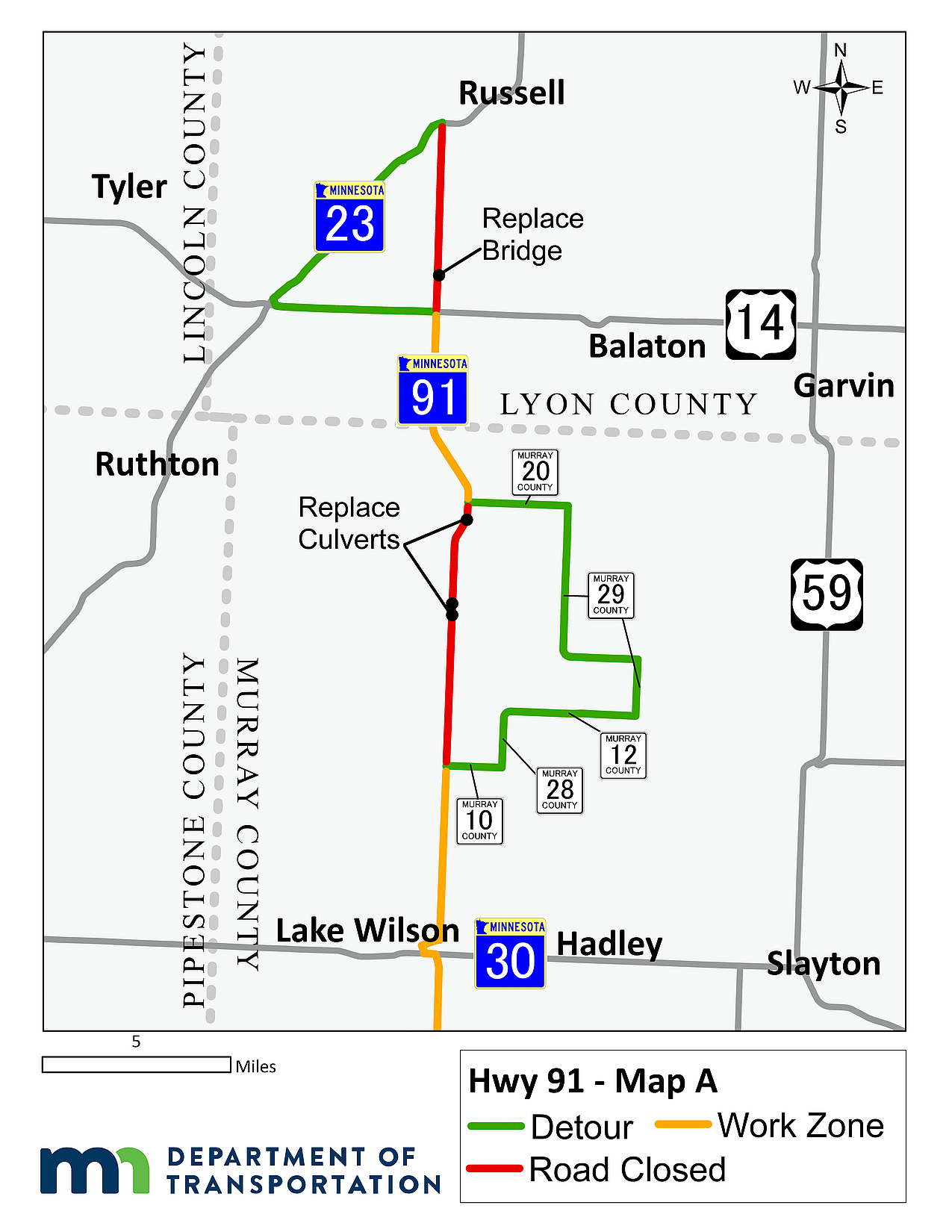 map of Hwy 91 detours