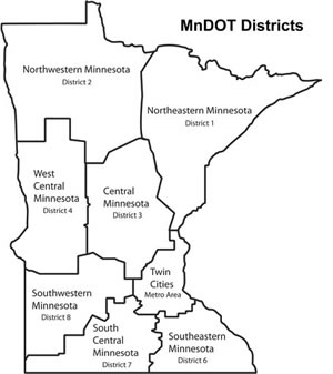 Map showing MnDOT's eight districts