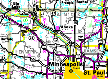 Map of the northwest Twin Cities metropolitan area. The GIM Section provides mapping for Minnesota's Official State Highway Map, produced every odd-numbered year.