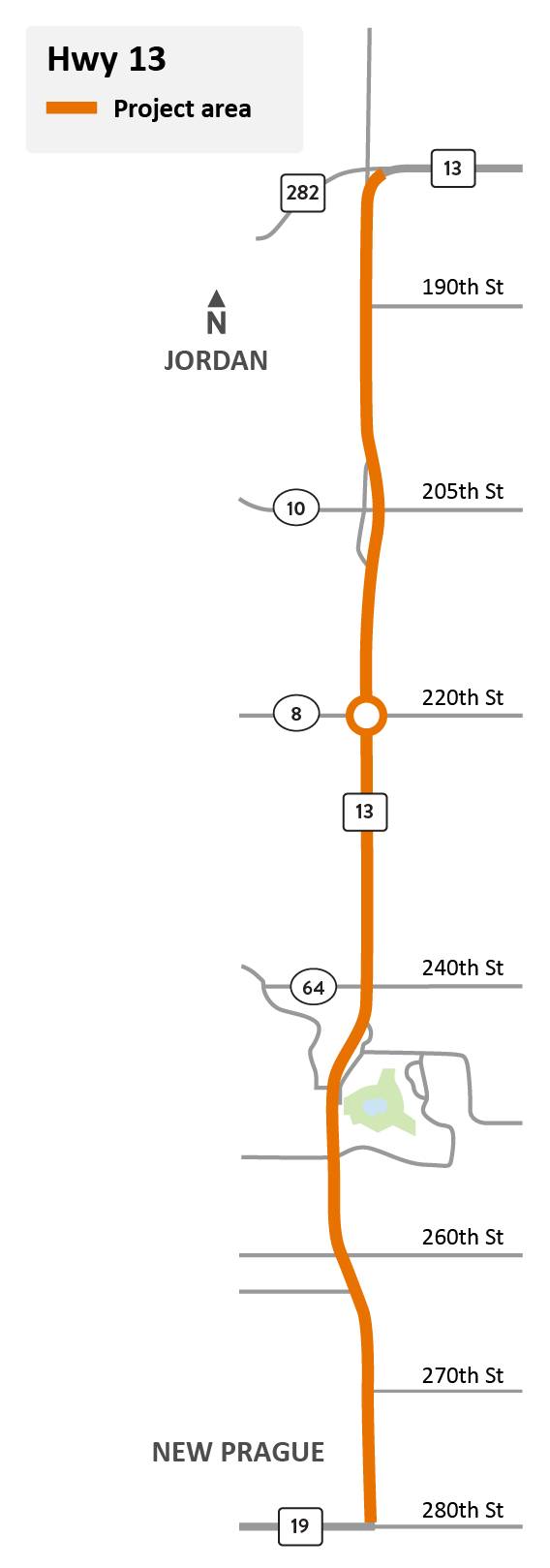 Highway 13 in Spring Lake Township and Cedar Lake Township project location map
