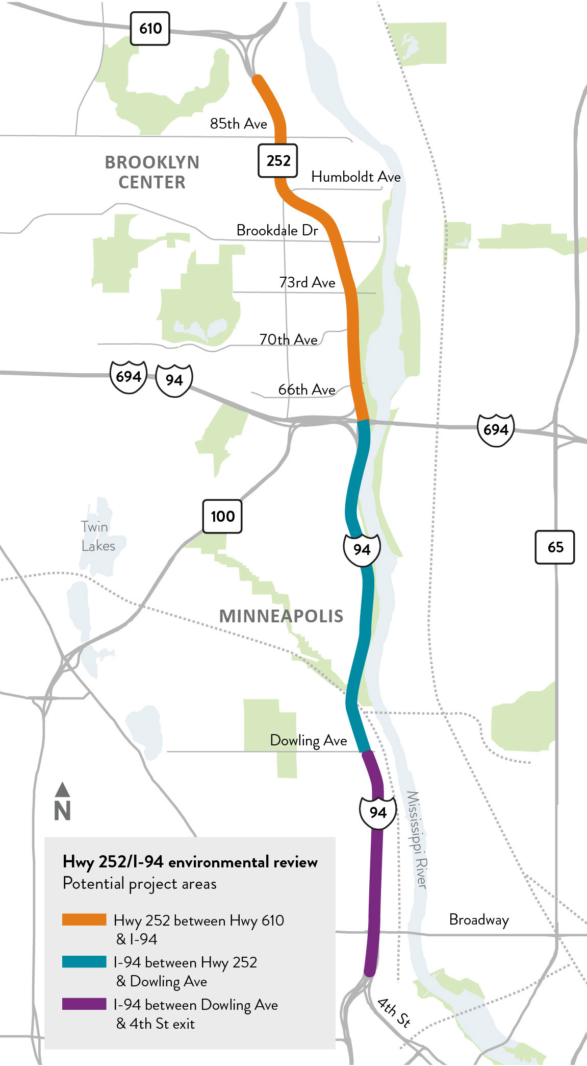 Highway 252/I-94 study area map in Brooklyn Center, Brooklyn Park and Minneapolis