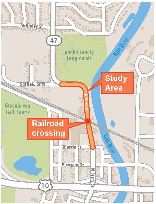 Hwy 47 and BNSF RR Crossing Study location