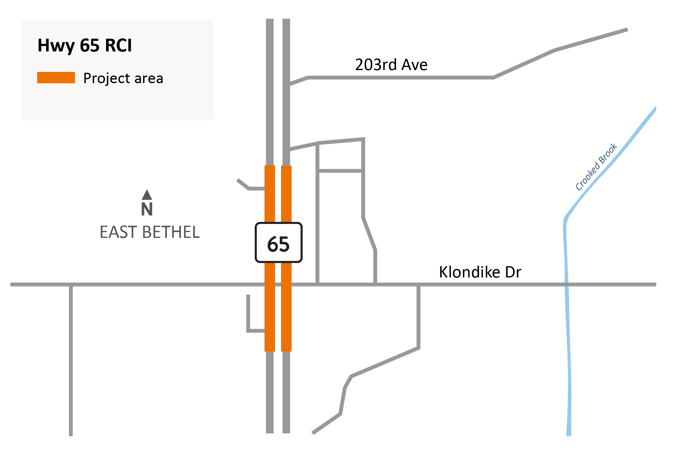 Highway 65 and Klondike Drive Northeast reduced conflict intersection project area map in Cedar/East Bethel