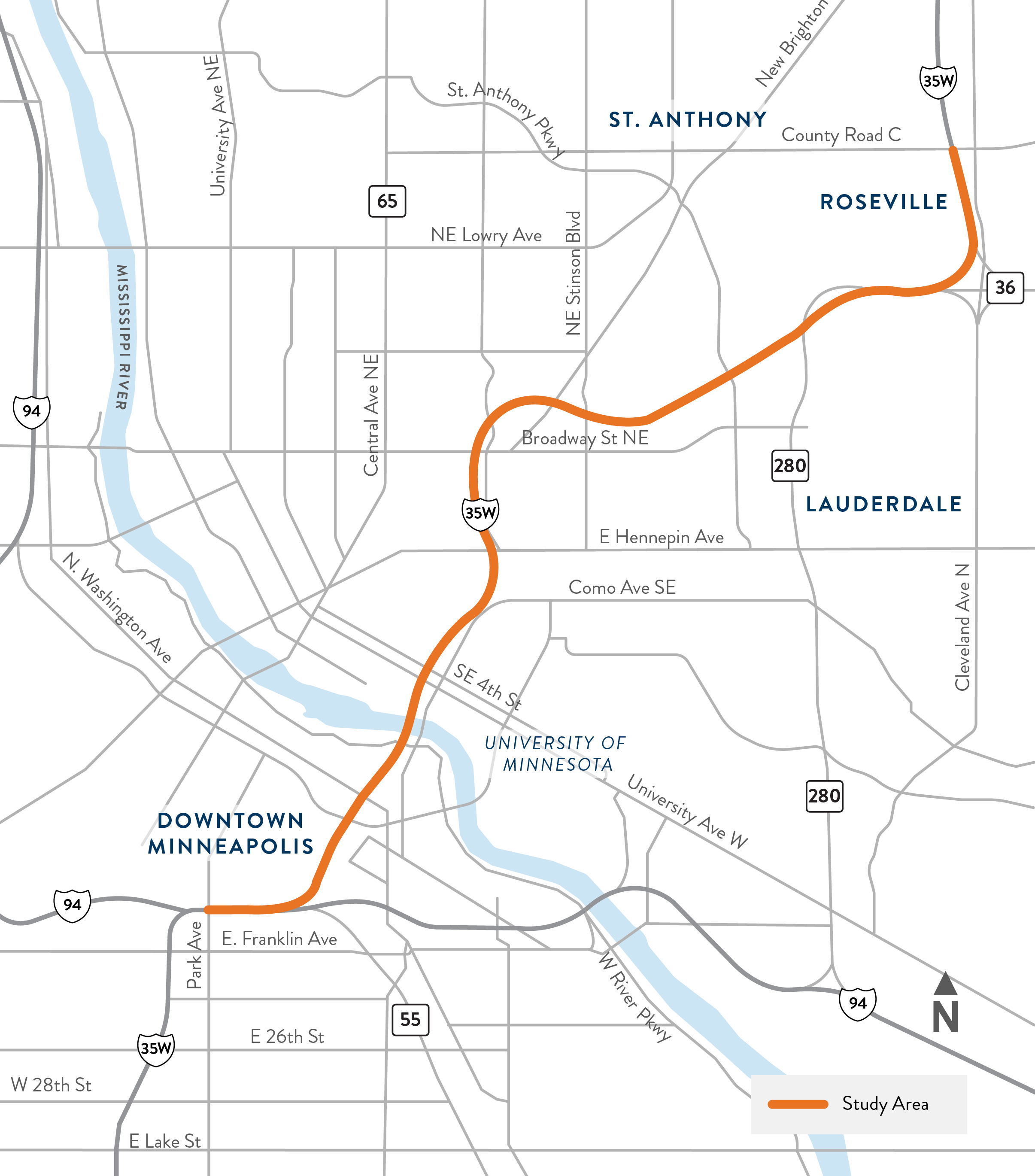 Hwy 62, Hwy 62 project map from Beach Rd. to Tracy Ave.