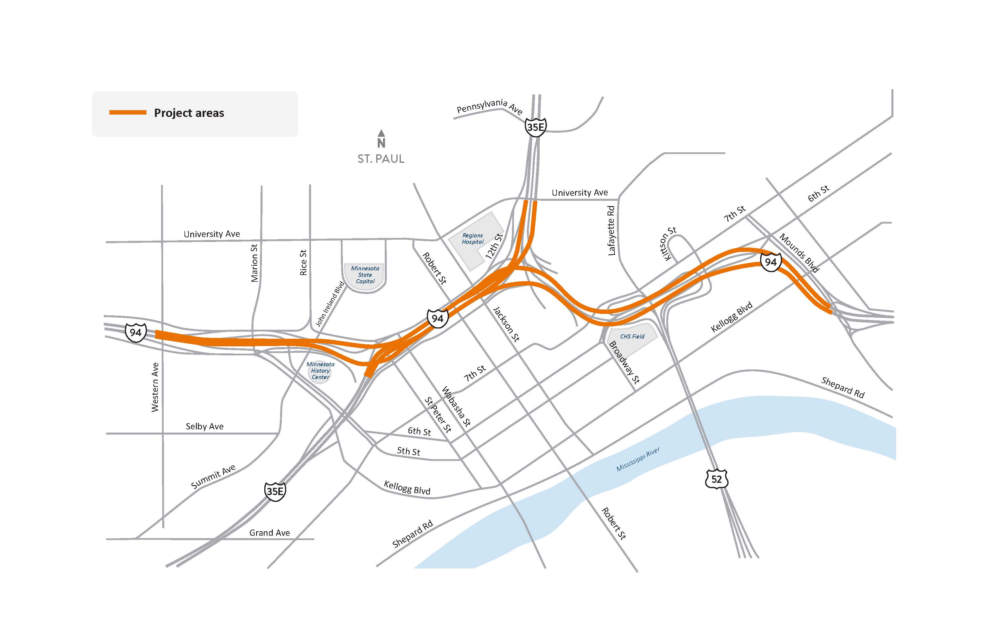 I-94 and I-35E in St. Paul Project locations map