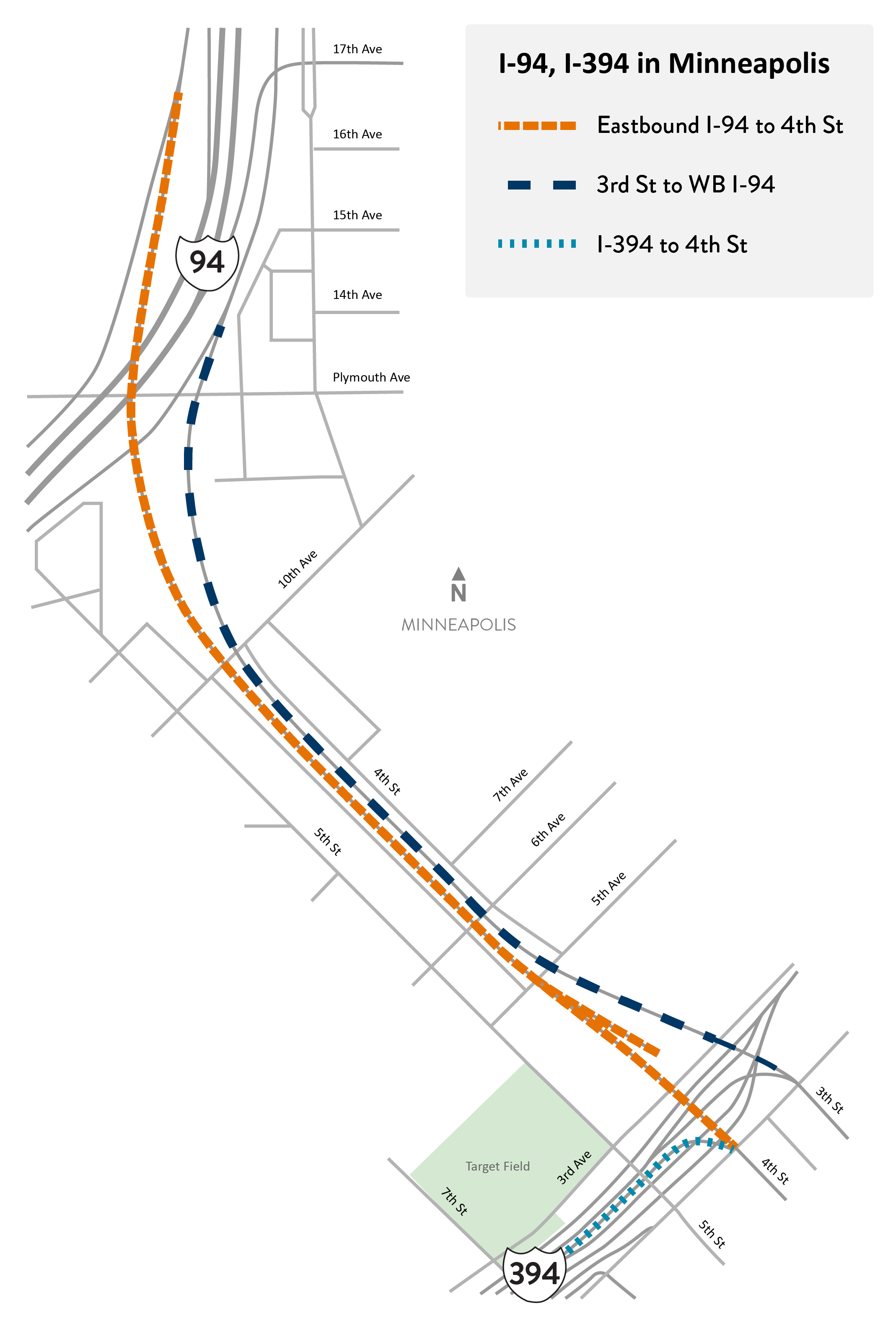 I-94 and I-394 in Minneapolis project location map