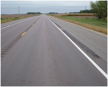 Rural road with rumble strips