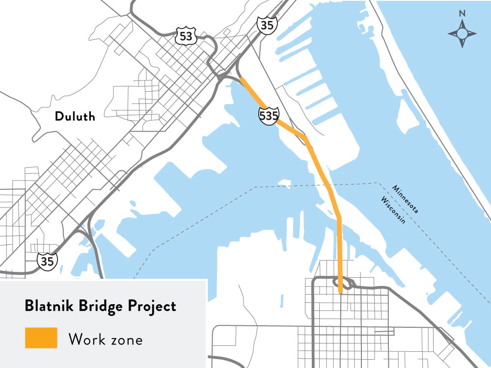A rendering of the Blatnik Bridge location.