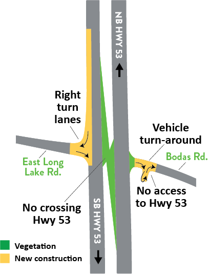 Hwy 53 and Bodas Road intersection map