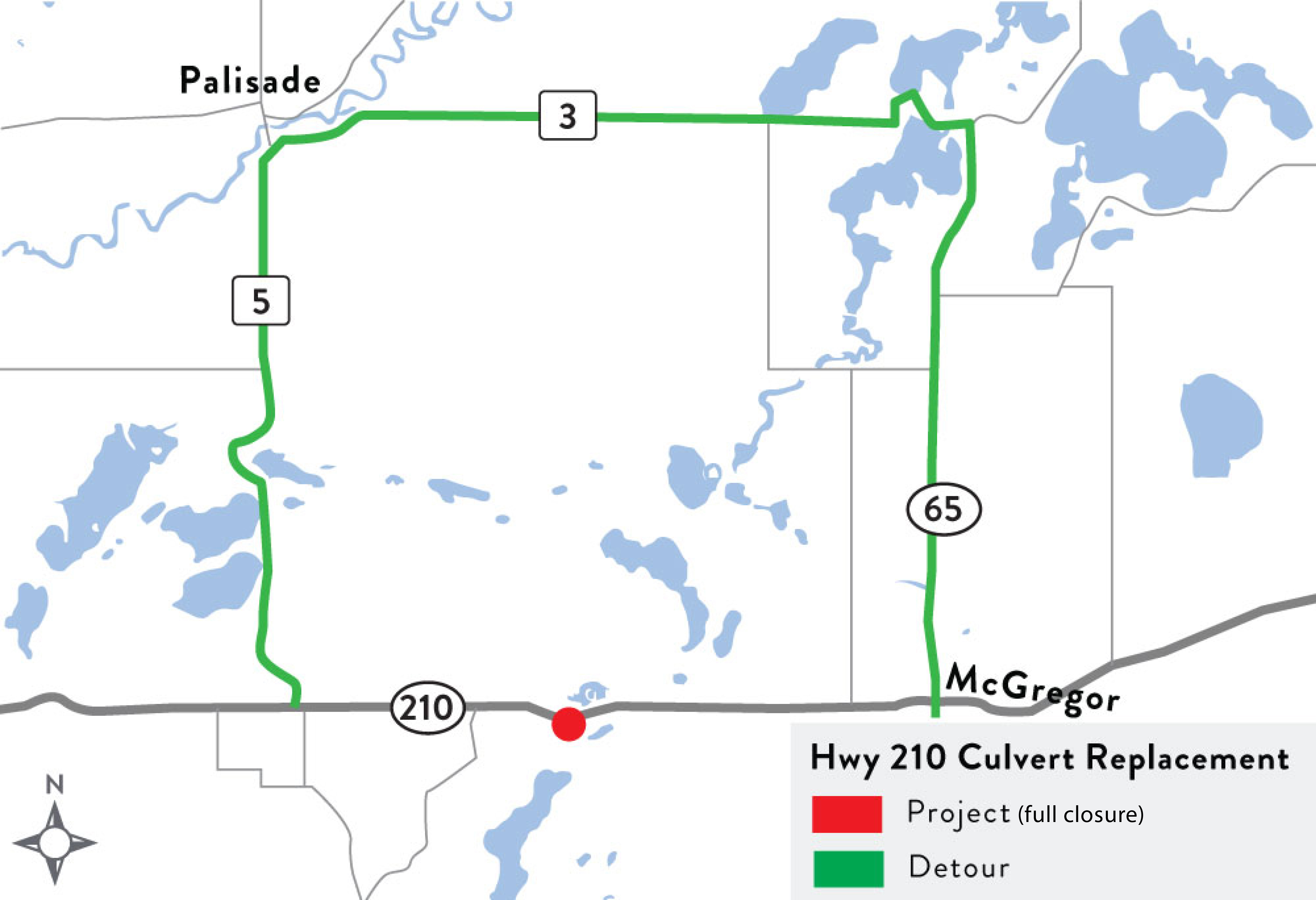 A rendering of the Hwy 210 box culvert replacement and detour.