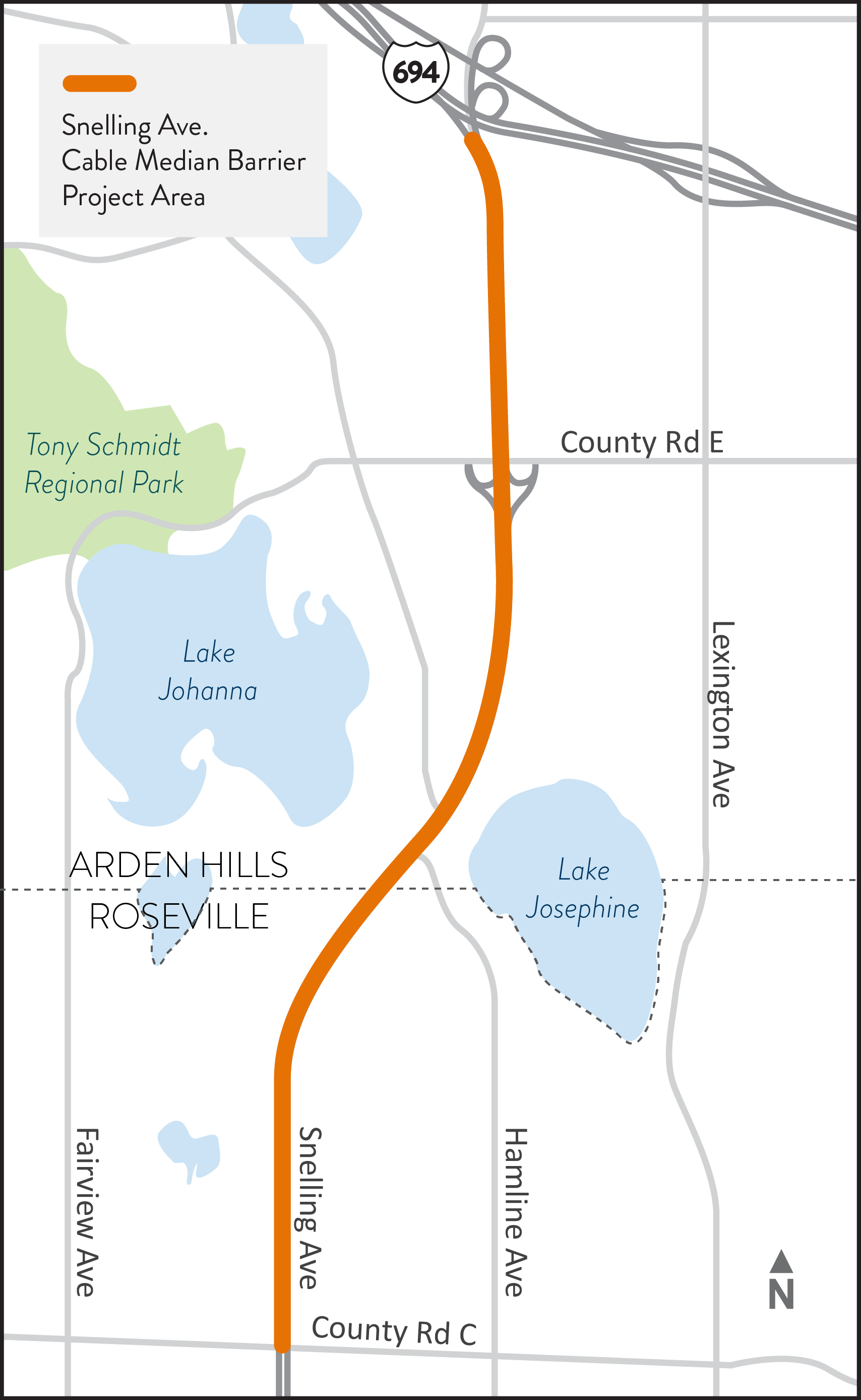 Map of Snelling Avenue project area between Roseville and Arden Hills