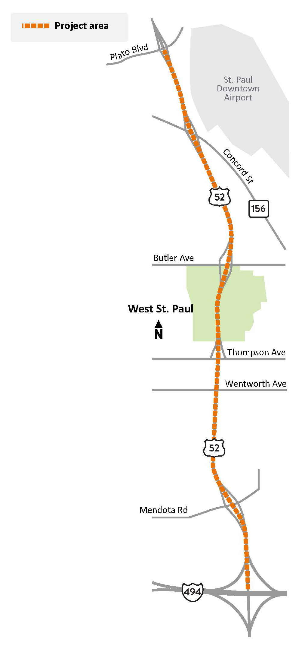 Hwy 52 Inver Grove Heights to St. Paul project area map