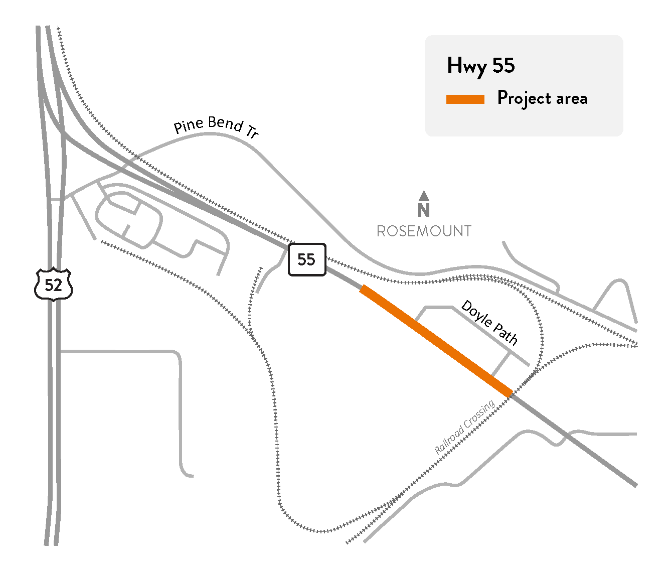 Highway 55 in Rosemount project location map
